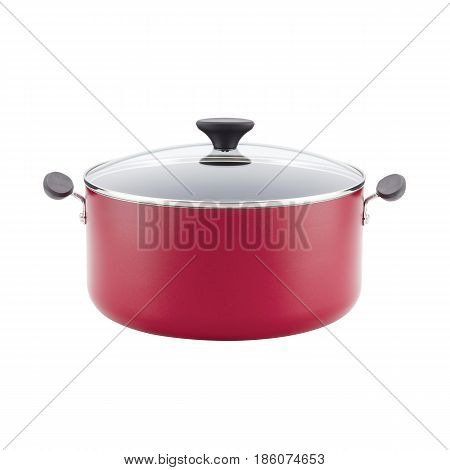 Red Enamel Coating Nonstick Stockpot With Lid Isolated On White Background. Cooking Pot. Cooking Pan