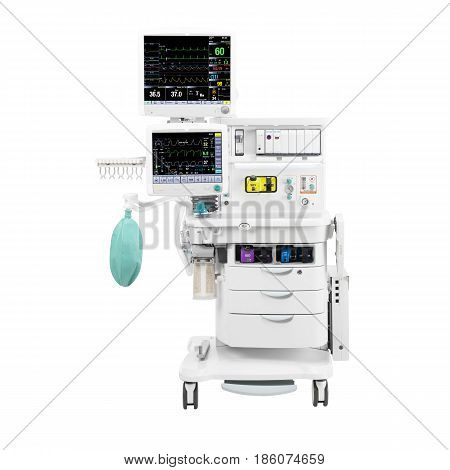 Anaesthesia Machine And Patient Monitoring System Isolated On White. Anaesthesia Workstation With Th