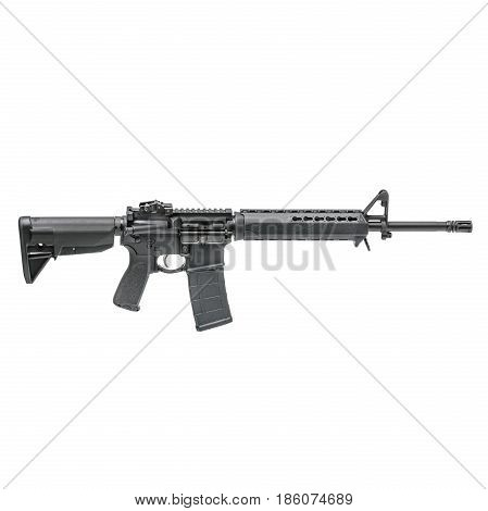 Carbine Isolated on a White Background. Assault Rifle. Military Gun