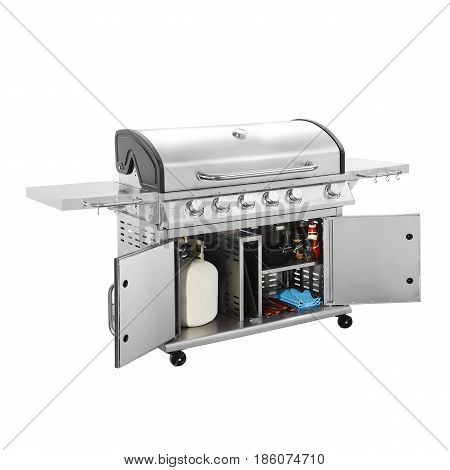 Bbq Grill Isolated On A White Background. Barbecue Gas Grill. Outdoor Cooking Station. Outdoor Grill