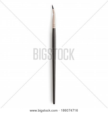 Bent Liner Brush Isolated on White Background. Makeup Brush. Eyeshadow Brush. Foundation Powder Brush. Studio Retractable Brush. Gel and Cream Liner