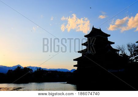 Historical architecture of Matsumoto castle in Nagano Japan