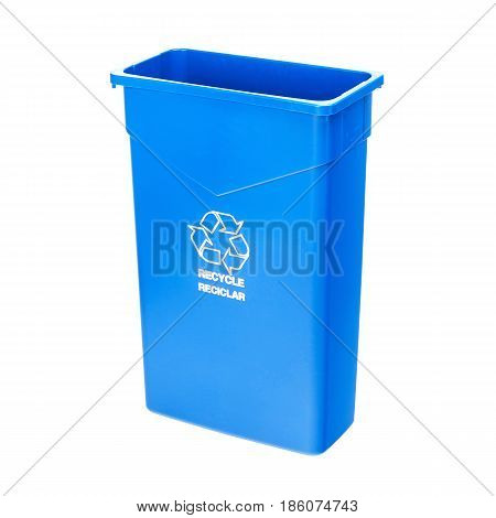Blue Recycle Bin Isolated On White Background. Plastic Waste Disposal Bin. Trash Can. Clipping Path