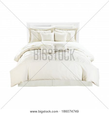 Contemporary White Bed With Linen Isolated On White Background. Front View
