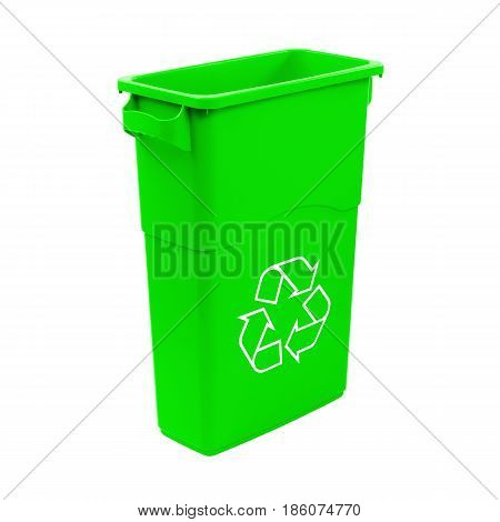 Green Recycle Bin Isolated On White Background. Plastic Waste Disposal Bin. Trash Can. Clipping Path