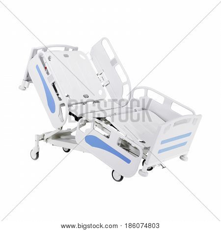 Hospital Bed Stretcher Or Patient Bed Isolated On White Background. Electric Variable Height Bed. Fo