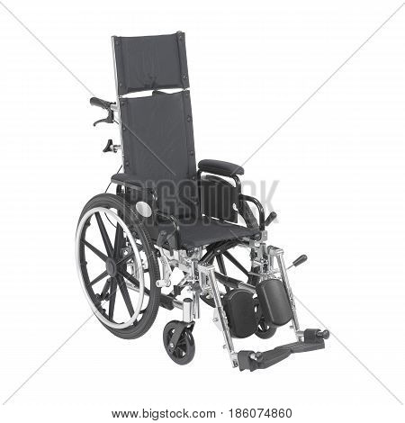 Reclining Wheelchair With Adjustable Padded Arms Isolated On White Background. Medical Equipment Tra