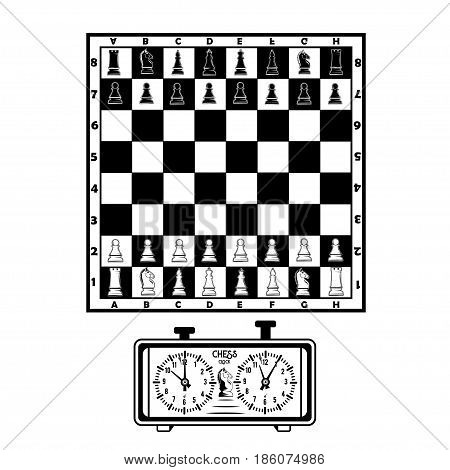 Vector illustration of a chessboard with figures and a chess clock on a white background for your design, print and web