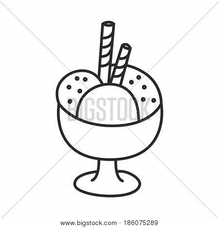 Ice cream in a bowl with wafer sticks vector doodle hand drawn line illustration. Can be used for coloring.