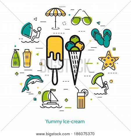 Vector concept of summer vacation. Big icon of ice cream and holiday icons, dolphin, sunglasses, surfing, yacht. Round linear web banner in thin line style