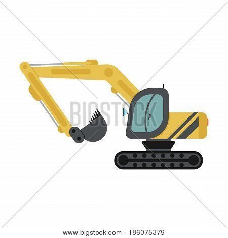 Vector flat icon of builder crawler excavator isolated on white background