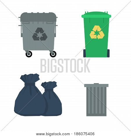 Vector flat set of various garbage containers, trash cans, urns, bags, sacks and packages