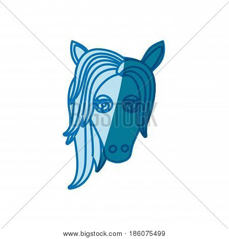blue silhouette of front face of female horse with mane vector illustration