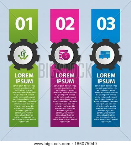 Vector Illustration. Infographic Template With The Image Of 3 Rectangles And Gears. 3D Style With Th