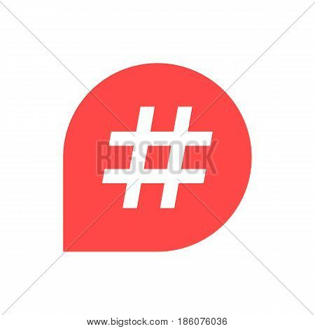 hashtag icon in red bubble. concept of number sign, social media, microblogging, web communicate, pr, popularity. isolated on white background. flat style trend modern logo design vector illustration