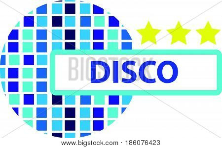 Disco ball symbol with stars isolated on white backgroud. Vector illustration.
