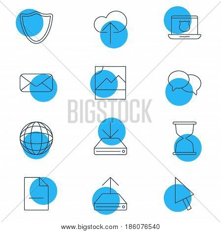 Vector Illustration Of 12 Web Icons. Editable Pack Of Pointer, Hdd Sync, Secure Laptop And Other Elements.