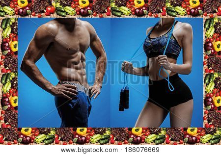 Attractive male body builder, isolated on white background and beautiful woman with perfect clean skin. Collage of perfect bodys. Concept of diet