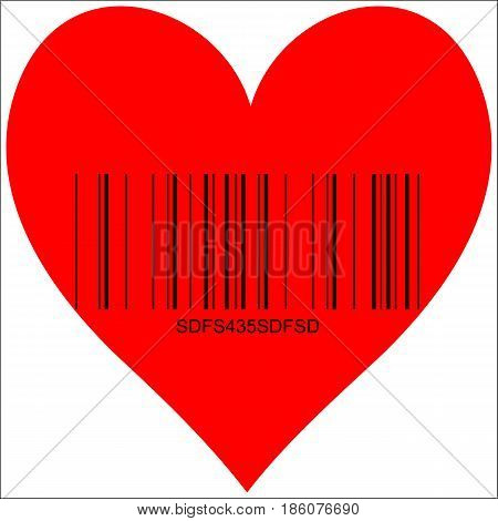 Heart image with Barcode, symbol of love for sale