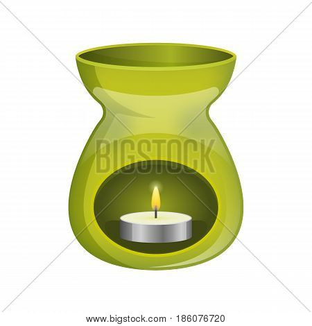 Green aromatherapy lamp oil burner spa icon flat
