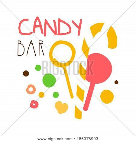 Candy bar logo. Colorful hand drawn label for confectionery, bakery, sweet store