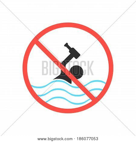 ban on swimming in a drunken state. concept of rescuer help, alcoholic, prohibition, addiction, restrict accident. isolated on white background. flat style trend modern logo design vector illustration