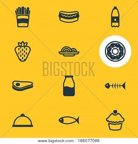 Vector Illustration Of 12 Food Icons. Editable Pack Of Cake, Skeleton, Cruet And Other Elements.