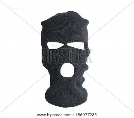 Black thief hat balaclava isolated on white background