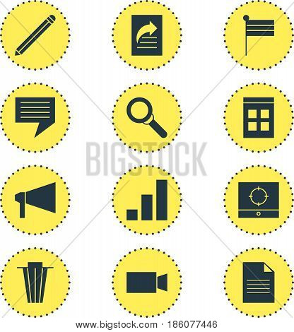Vector Illustration Of 12 Internet Icons. Editable Pack Of Pen, Target Scope, Trash And Other Elements.