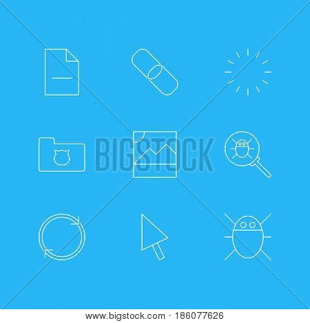 Vector Illustration Of 9 Internet Icons. Editable Pack Of Pointer, Computer Virus, Removing File And Other Elements.