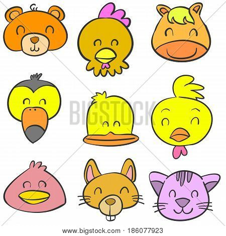 Collection stock animal head colorful doodles vector art