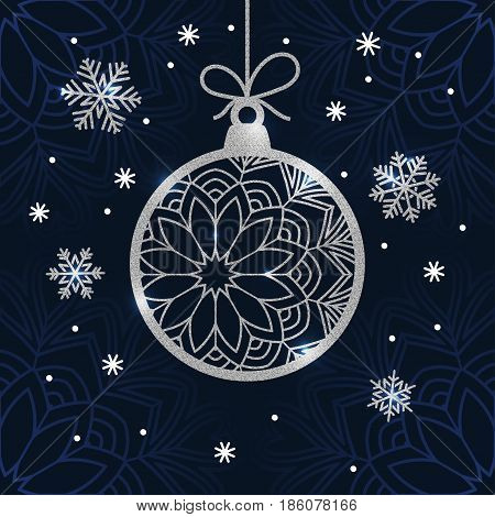 Christmas card with silver glitter bauble and snowflakes. Holiday vector background.