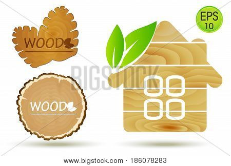Wooden Eco House Logo. Vector Wooden set with cone and wood cut for your design