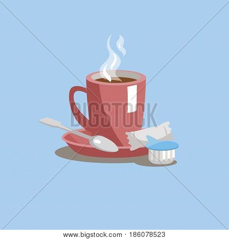 A cup of coffee on a saucer with sugar cream and a spoon on a blue background