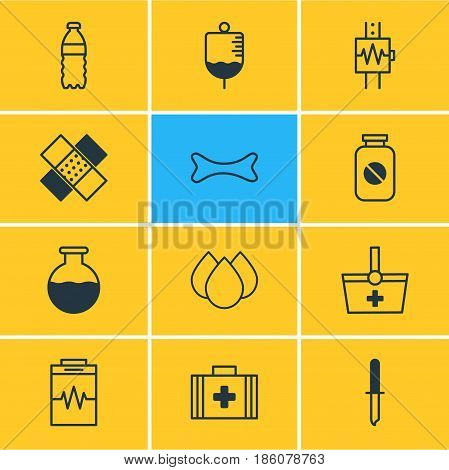 Vector Illustration Of 12 Medicine Icons. Editable Pack Of Vial, Trickle, Basket And Other Elements.