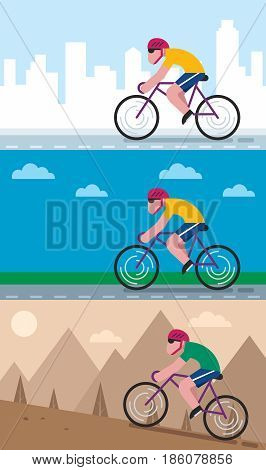 Set of 3 flat design illustrations of character cycling through different areas.