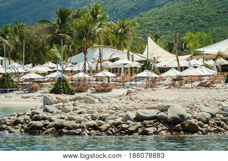 Hotel complex on the rocky shore of Vietnam