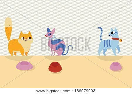 Three different cartoon cats and bowls next to them on a light background