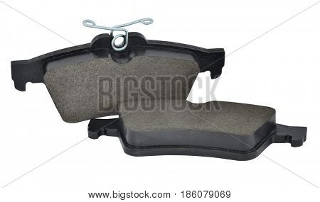 One set of front wheel brake pads. Isolated with path on white background.