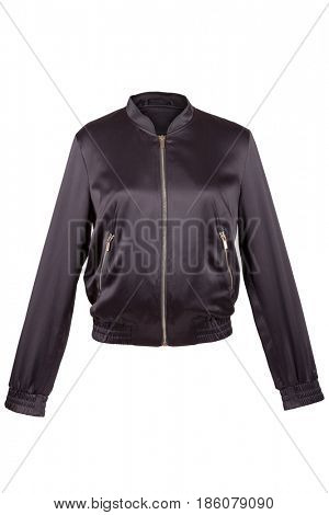 Black satin jacket, isolated on white
