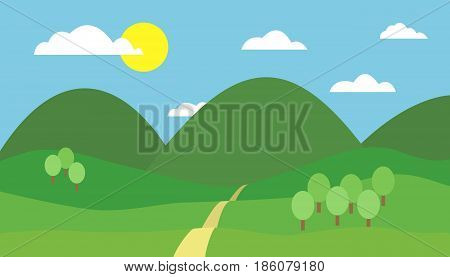 Cartoon colorful vector illustration of mountain landscape with hill path and trees under blue sky with clouds and sun on a sunny day