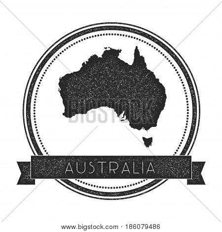 Retro Distressed Australia Badge With Map. Hipster Round Rubber Stamp With Country Name Banner, Vect