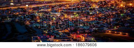Sundown and city lights in El Paso Texas.