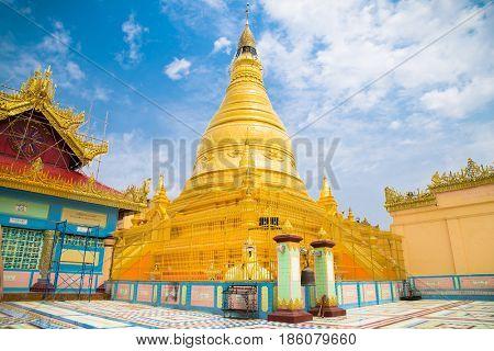 Soon U Ponya Shin Pagoda  at Sagaing in  Mandalay , Myanmar. (Burma)