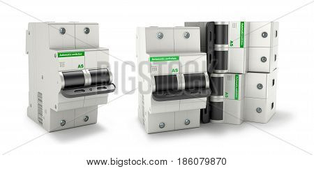 Automatic electricity switchers on a white background. 3D illustration