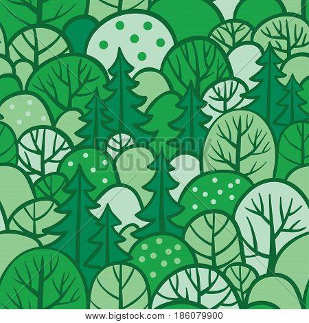 Background with summer trees. Seamless tree pattern with forest illustration in vector. Green seamless forest.