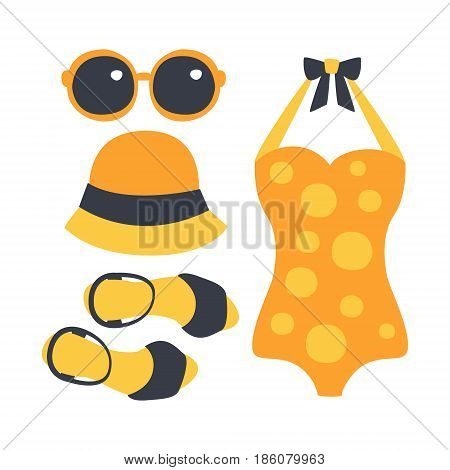 Swimsuit, glasses, bag, sandal, women beach accessories in orange colors. Beach vacation. Colorful cartoon Illustration isolated on a white background