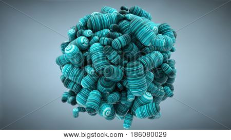 Abstract Cloud With Capsules; Tablets; 3D Rendering; Stretched Pixels Texture