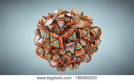 Abstract Illustration With Cone, 3D Rendering, Stretched Pixels Texture