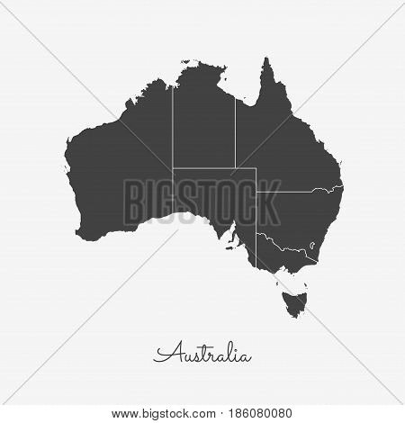 Australia Region Map: Grey Outline On White Background. Detailed Map Of Australia Regions. Vector Il